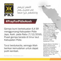 PKS Ajak Seluruh Elemen Masyarakat Bantu Korban Gempa Aceh