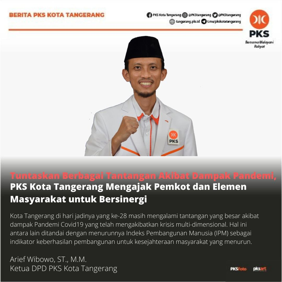 Arief Wibowo Ketua Umum DPD PKS Kota Tangerang